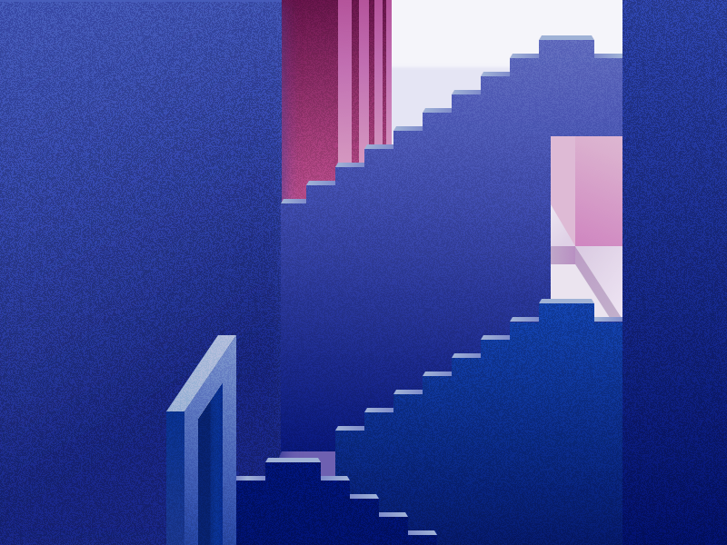 Illustration | La Muralla Roja 🎨 pink purple blue graphic architecture muralla roja isometric vector minimal illustration sketchapp julie charrier