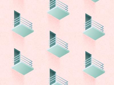 Illustration | Balcony pattern green pink architecture door balcony isometric vector minimal illustration sketchapp julie charrier