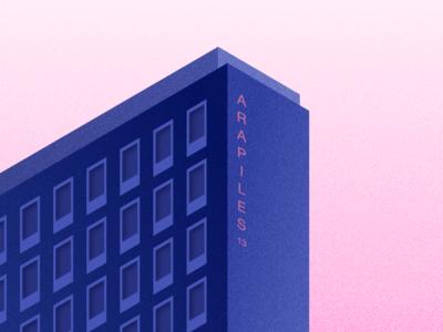Illustration | Calle de Arapiles 🏢 spain madrid arapiles pink blue architecture building graphic isometric vector minimal illustration sketchapp julie charrier