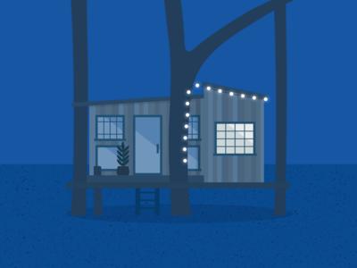 Illustration   Tiny house by night 🏠