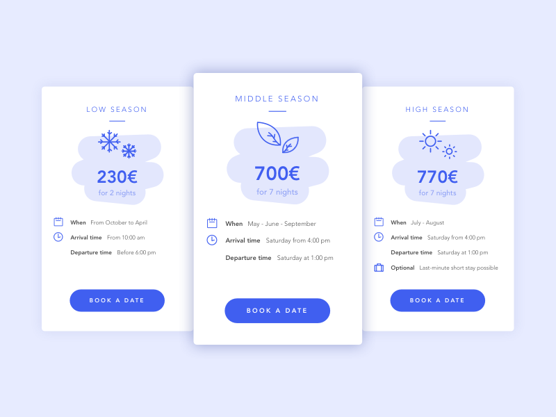 Cards   Pricing for vacation rentals 🏠 rental vacation cards card website ux flat ui vector minimal illustration sketchapp julie charrier