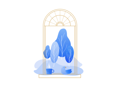 Illustration | Morning view ☕️ visual gradient blue landscape cup coffee bird window flat ui vector minimal illustration sketchapp julie charrier