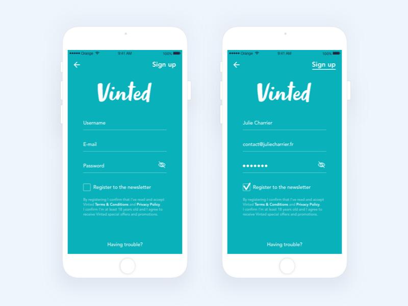 App | Vinted (Sign up) 👕 clothes interface subscribe sign up vinted ux flat ui minimal sketchapp julie charrier