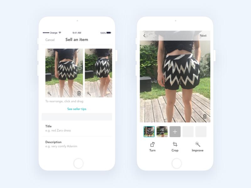 App | Vinted (Add pcitures) 👕 ios icons interface ux clothes vinted app flat ui vector minimal illustration sketchapp julie charrier