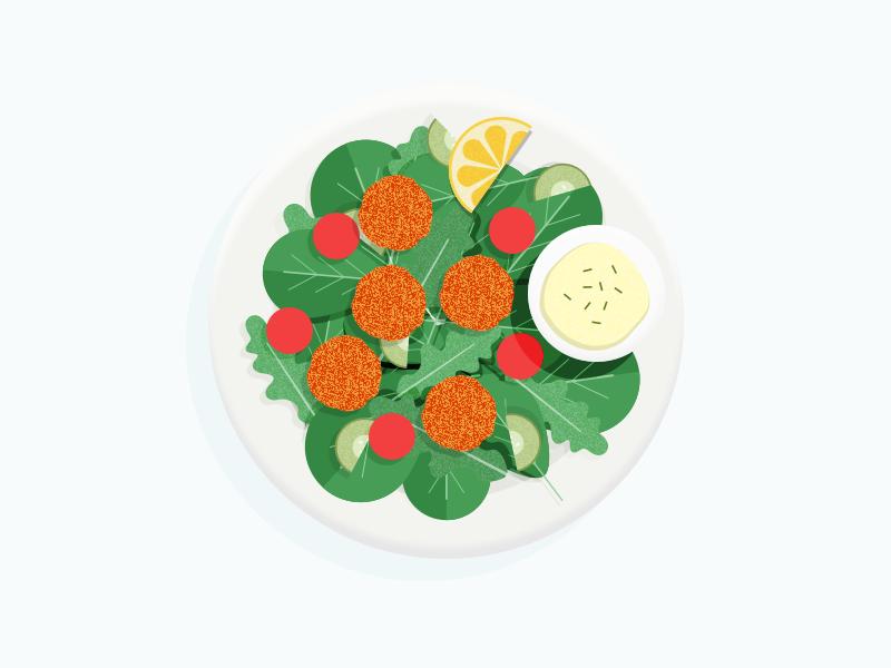 Illustration | Falafels 🥗 lemon food salad tomatoe falafel ui vector minimal illustration sketchapp julie charrier