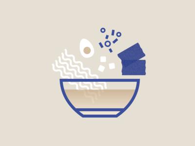 Illustration | Ramen 🍲 noodles nori tofu egg graphic blue ramen flat ui vector minimal illustration sketchapp julie charrier