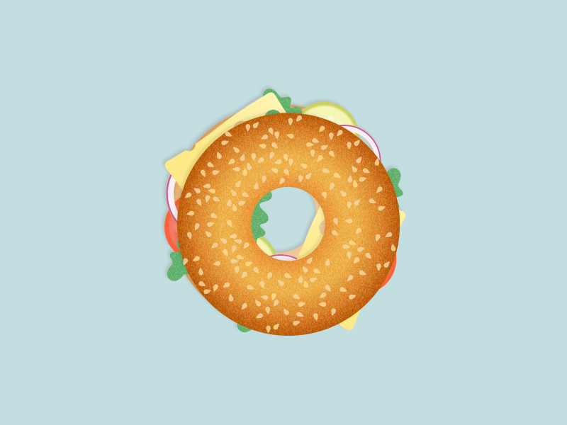 Illustration | Bagel 🍔 collaboration burger cheese food bagel gradient ui vector minimal illustration sketchapp julie charrier