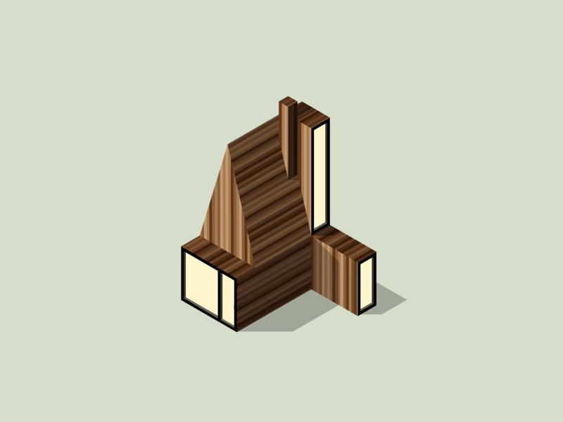 Illustration |  Hut in the woods 🌲 architecture isometric ui vector minimal illustration sketchapp julie charrier cabin hut house