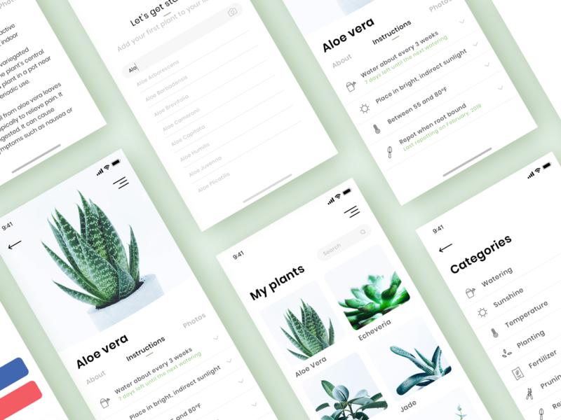 App | Plant Keeper 🌿 plants wip iphone app concept garden clean vector ui ux app design flat minimal sketchapp julie charrier