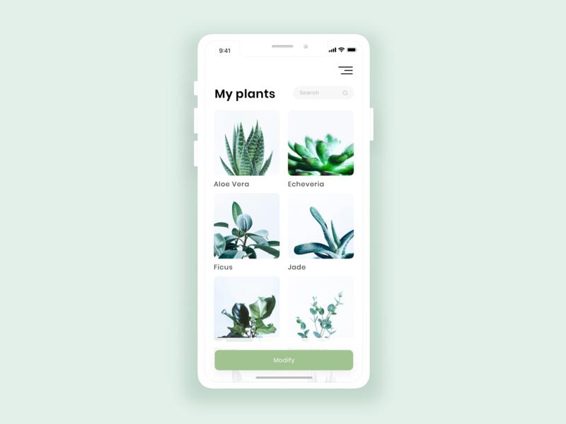 App   Plant Keeper (details) 🌿 garden clean app concept app design iphone plants plant flat ui vector minimal illustration sketchapp julie charrier
