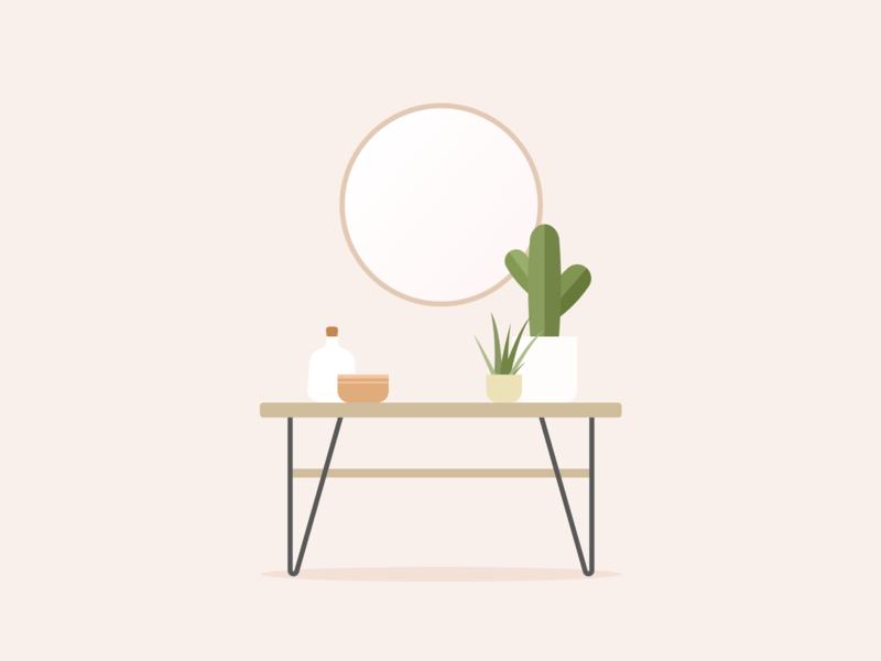 Illustration | Interior mirror plants decoration deco interior ui vector minimal illustration sketchapp julie charrier