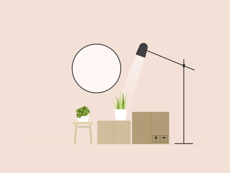 Illustration | Home 🌱 cardboard box plant plants decoration interior home flat ui vector minimal illustration sketchapp julie charrier