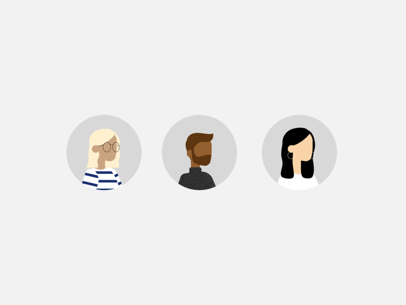 Illustration | People team people portrait avatar diversity character flat ui vector minimal illustration sketchapp julie charrier