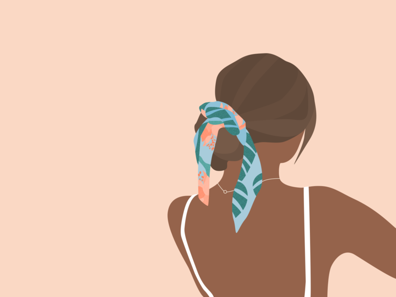 Illustration | The girl with the scarf jewel necklace back character brunette summer fashion girl flat ui vector minimal illustration sketchapp julie charrier