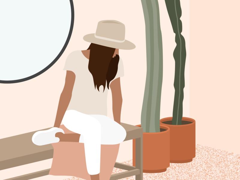 Girl With Plants 👩🏻🌵 cactus plant illustration plants girl flat ui vector minimal illustration sketchapp julie charrier