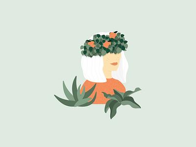 Illustration | Clementine girl 🍊 plant illustration plants crown clementine girl flat ui vector minimal illustration sketchapp julie charrier