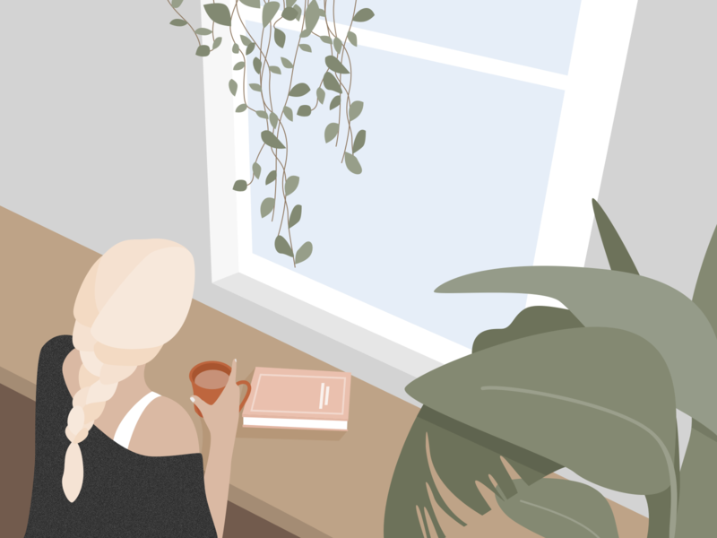 Illustration | Looking at the window 👱♀️ window interior plant illustration girl flat ui vector minimal illustration sketchapp julie charrier
