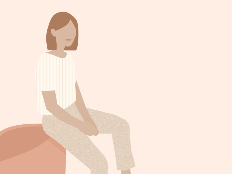 Illustration | The sitting girl pastel girl sitting woman flat ui vector minimal illustration julie charrier