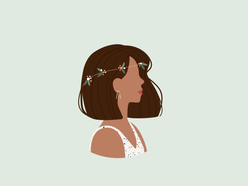 Illustration | Girl with a flower crown 🌸 drawthisinyourstyle flower crown flower crown woman girl flat vector minimal illustration sketchapp julie charrier