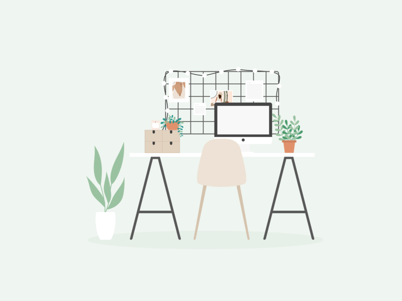 Illustration | Desk plants plant illustration scandinavian design scandinavian style office desk flat vector minimal illustration sketchapp julie charrier