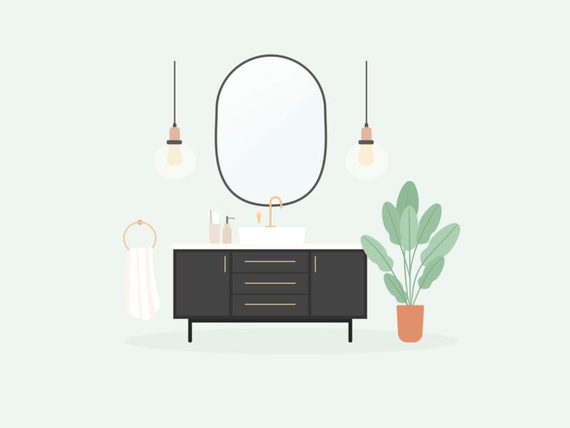 Illustration | Bahroom 🛁 plants scandinavian design scandinavian style interior design bathroom flat vector minimal illustration sketchapp julie charrier