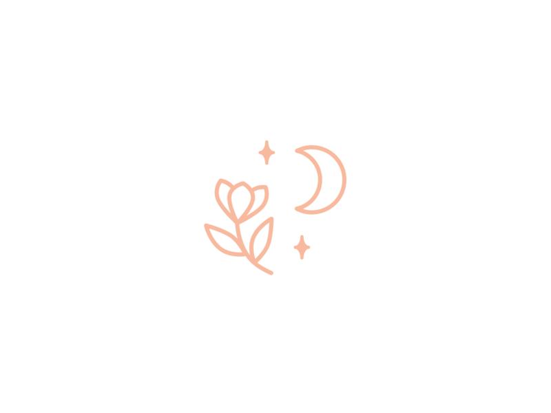 Branding | Chloé Bloom 2 🌷 pink healthy logo branding sparkle spirituality moon flower logotype branding logo minimal illustration sketchapp julie charrier
