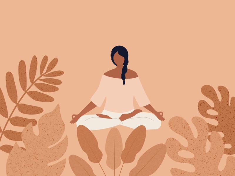 Illustration | Yoga girl 🧘🏽 meditation yoga illustration yoga girl yoggie flat vector minimal illustration sketchapp julie charrier