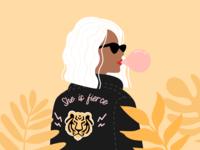 Illustration | Badass Girl 💪🏼 woman rocknroll leather jacket girl badass flat vector minimal illustration sketchapp julie charrier