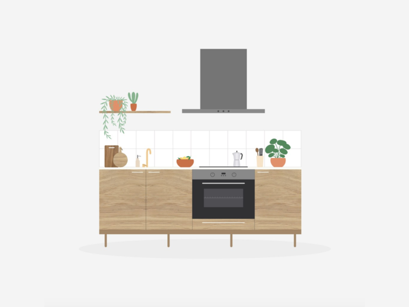 Illustration | Kitchen 👩🏻🍳 scandinavian design scandinavian style interior designs interior design kitchen flat vector minimal illustration sketchapp julie charrier