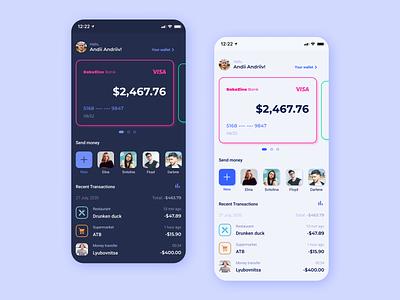 Banking App UI design light ui dark ui card money app banking app banking app design app ui design ui