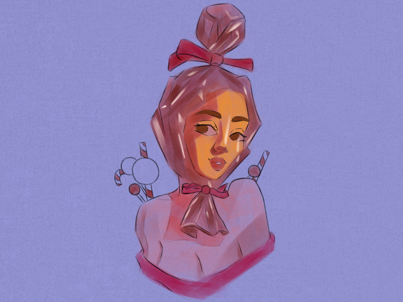 Candy girl illustration photoshop flat logo icon design