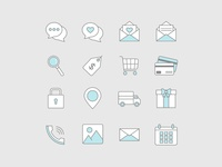 Blue and Grey Icon Set