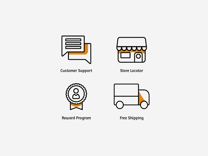Ecommerce Icon Set store icon chat customer support reward program free shipping store vector illustrator icons