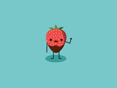 Hi! illustration cute character fruit strawberry