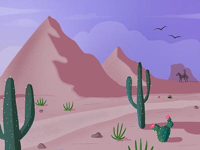Desert Horizon procreate sketch landscape cowboy cactus desert