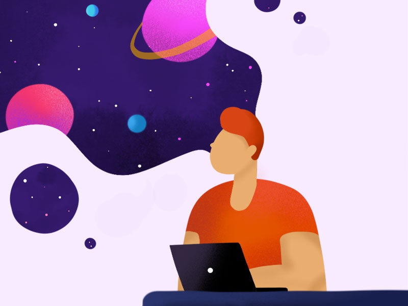 Day dreamer man laptop space outer space icons procreate sketch character illustration