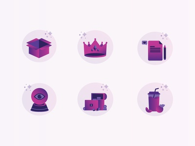 Campaign Icons social gift box crown treasure crystal ball blog juice icons illustrator