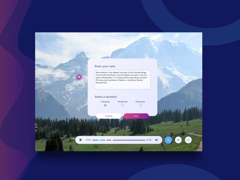 Video Quiz Creator video player video app vr user interface daily ui ui  ux ui user inteface uidesign popup gradients scrubber hotspot video quiz
