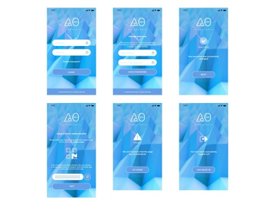 AlphaTheta Mobile Application in Cryptocurrency Sphere error page logout reset password login blockchain cryptocurrency mobile design mobile app adobexd