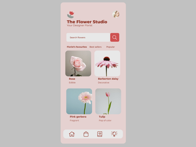 The Flower Studio Mobile App Design figma flowershop mobile app design flower flower studio flower mobile app