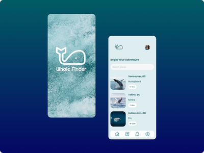 Whale Finder Mobile App Concept concept whale finder whale mobile app figma