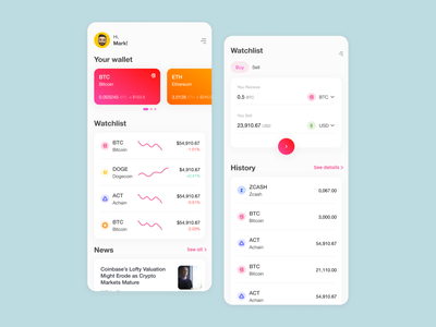 Euphoria - cryptho exchange app dailyui newsfeed exchange wallet transfer payment bitcoin ecommerce bank homepage crypto exchange cryptocurrency crypto wallet mobile app graphic ux ui minimal design