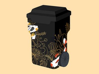 Koi Fish Trash Bin Mock flowers plants design fish vector illustration coachella