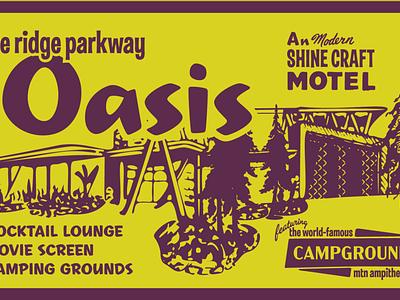Shine Craft Mtn Oasis illustration identity camping growler outdoor fomo travel roadtrip road van palmsprings motel campground blueridge asheville trucker hat