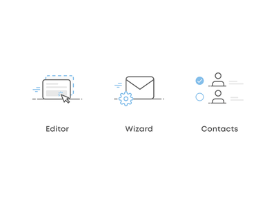 Newsletter icons figma web contacts wizard editor newsletter ui illustration design icon