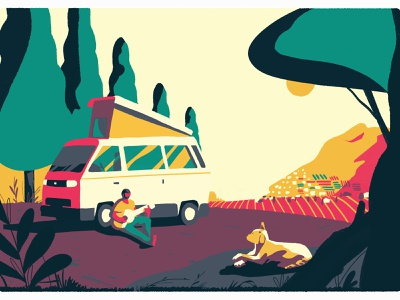 At Sicilly landscape turism journey travel italy countryside campervan nature editorial illustration
