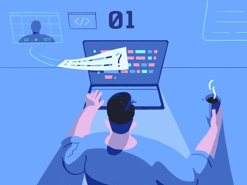 World-Class Online Coding Interview coding hire digital laptop working developer dev blog analysis code technology illustration remote online