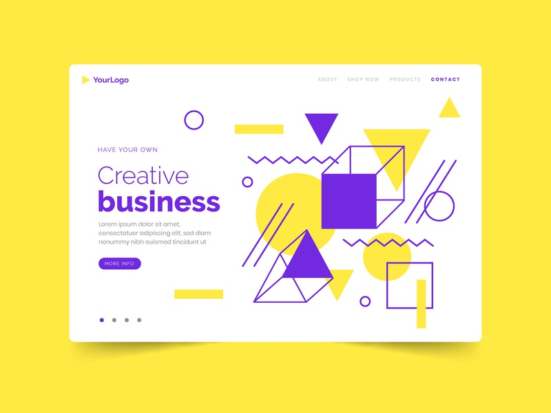 Geometric landing page geometry website flat template colorful page landing geometric