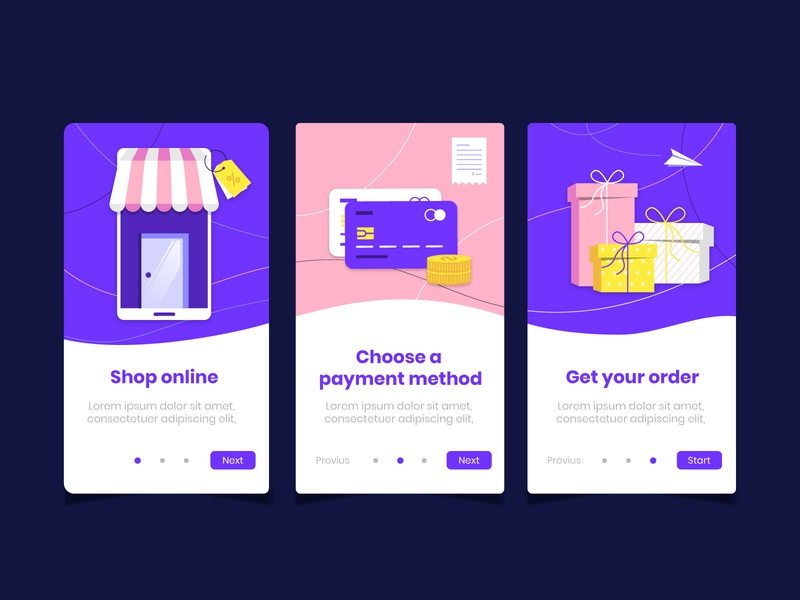 Purchase online onboarding app screens II shop present gift colorful flat template card credit payment store online purchase