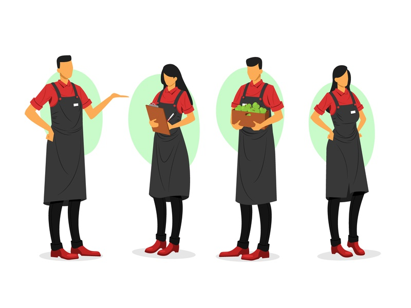 Supermarket workers collection illustration flat workers supermarket